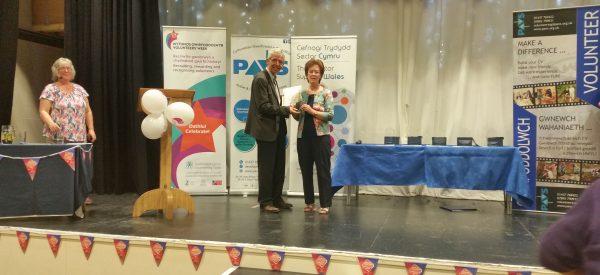 Margaret Heron Winning the Over 25 Pembrokeshire Volunteering Award