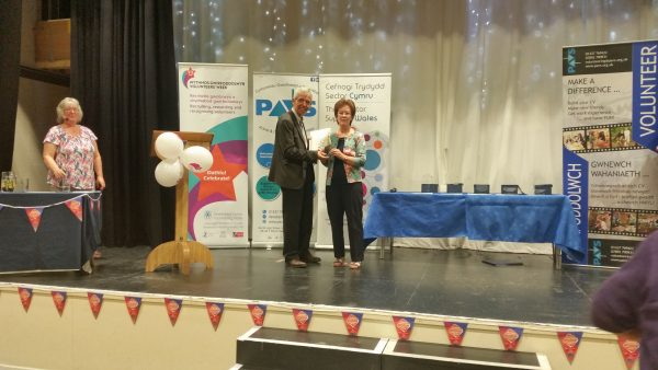 Margaret Heron Winning the Over 25 Pembrokeshire Volunteering Award