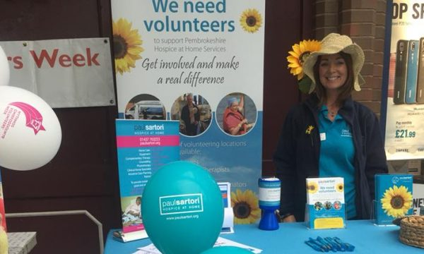 Caroline White at the Farmers Market celebrating National Volunteers Week 2018 for Paul Sartori