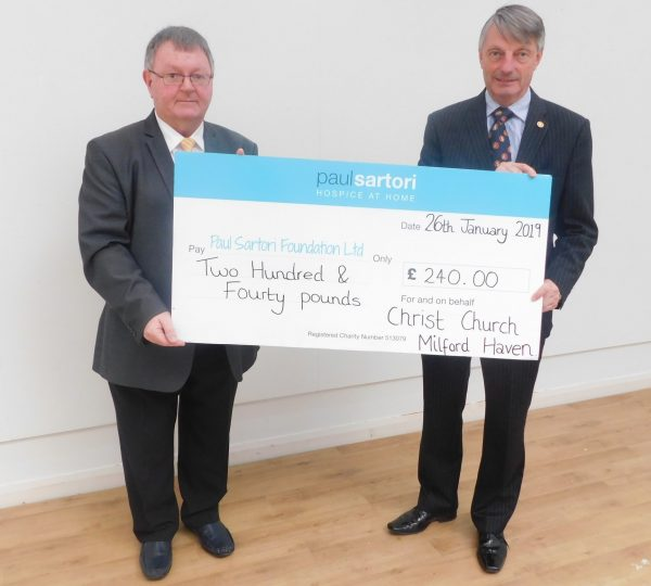 Christ Church Milford Haven raise money for Paul Sartori Hospice at Home