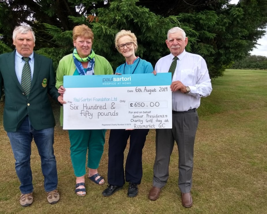 Rosemarket Golf Club presenting the cheque to Paul Sartori Hospice at Home.
